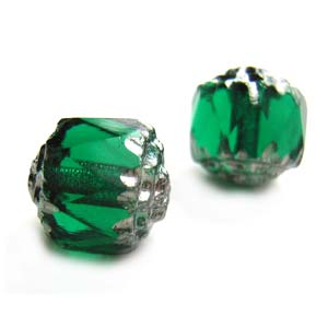 Czech Glass Fire Polished beads - Antique Style Octagonal Cathedral 8mm Silver Emerald x1
