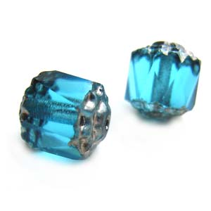 Czech Glass Fire Polished beads - Antique Style Octagonal Cathedral 8mm Silver Aquamarine x1