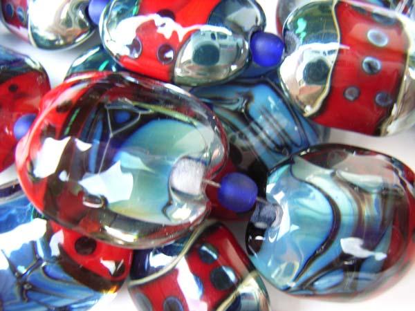 Ruby Abalone Scarabs Artisan Glass Lampwork Beads - Ian Williams