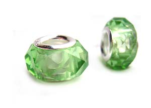 Sterling Silver Core Bead 12x7mm - 4.5mm Hole Light Peridot Green Faceted Glass Rondelle x1