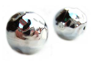 Sterling Silver Beads - 16mm Boulder Hammered Sphere Bead x1