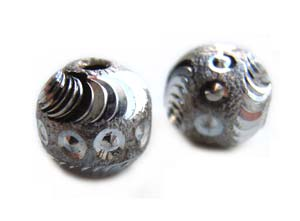 Sterling Silver Beads -  9x8.8mm Razor Cut (2mm hole) Bead x1