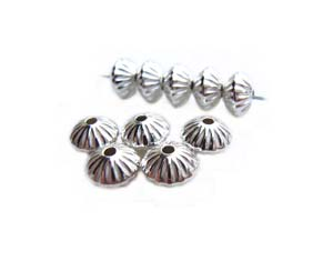 Sterling Silver 4.5mm Fluted Saucer Spacer Bead x1