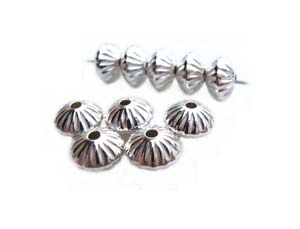 Sterling Silver 5.7mm Fluted Saucer Spacer Bead x1