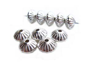 Sterling Silver 6.7mm Fluted Saucer Spacer Bead x1