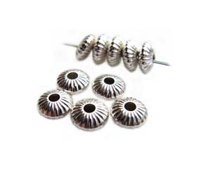 Sterling Silver 5mm Fluted Donut Spacer Bead x1