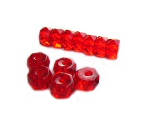 Czech Glass Fire Polished beads - 6/3mm Rondelle Siam Ruby x25