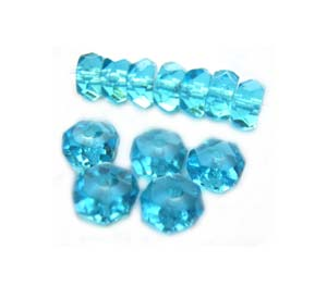 Czech Glass Fire Polished beads - 6/3mm Rondelle Aquamarine x25