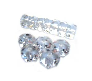 Czech Glass Fire Polished beads - 6/3mm  Rondelle Crystal x25