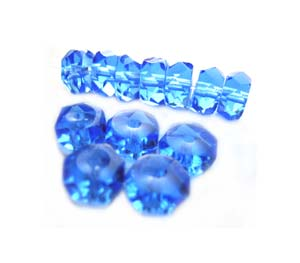 Czech Glass Fire Polished beads - 6/3mm Rondelle Sapphire x25