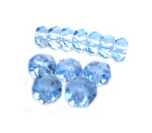Czech Glass Fire Polished beads - 6/3mm Rondelle Light Sapphire x25