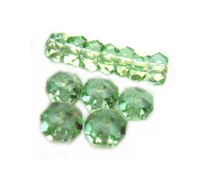 Czech Glass Fire Polished beads - 6/3mm Rondelle Peridot x25