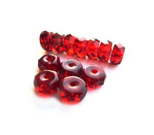 Czech Glass Fire Polished beads - 6/3mm Rondelle Ruby x25