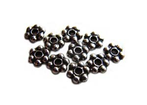 TierraCast Heishi Beads - 3mm Beaded Daisy Spacer Antique Rhodium Plated x10