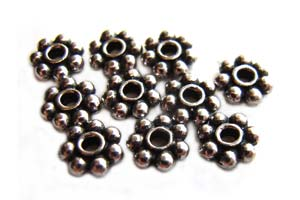 TierraCast Heishi Beads - 6mm Beaded Daisy Spacer Antique Rhodium Plated x10