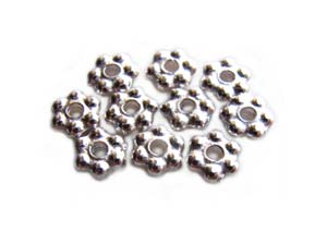 TierraCast Heishi Beads - 3mm Beaded Daisy Spacer Bright Silver Plated x10