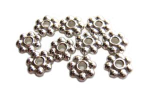TierraCast Heishi Beads - 6mm Beaded Daisy Spacer Bright Silver Plated x10