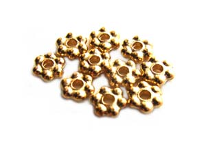 TierraCast Heishi Beads - 3mm Beaded Daisy Spacer Bright 22kt Gold Plated x10