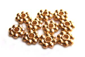 TierraCast Heishi Beads - 6mm Beaded Daisy Spacer Bright 22kt Gold Plated x10