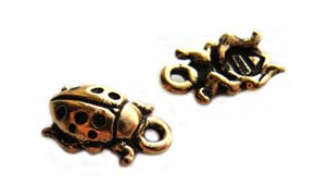 TierraCast Pewter Antique Gold Plated 13mm Ladybird Charm x1