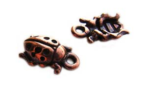 TierraCast Pewter Antique Copper Plated 13mm Ladybird Charm x1