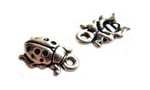 TierraCast Pewter Fine Silver Plated 13mm Ladybird Charm x1