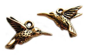 TierraCast Pewter Antique Gold Plated 18mm Hummingbird Charm x1