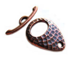 TierraCast Pewter Antique Copper Plated Hammertone Ellipse Toggle x1