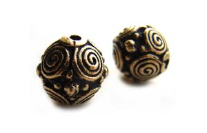 TierraCast Pewter Antique Gold Plated 8mm Round Spirals Bead x1