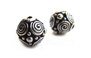 TierraCast Pewter Silver Plated 8mm Round Spirals Bead x1
