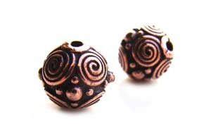 TierraCast Pewter Copper Plated 8mm Round Spirals Bead x1