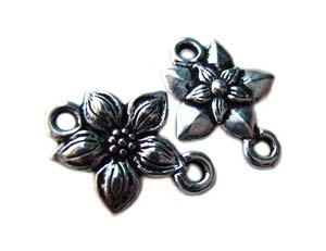 TierraCast Pewter Silver Plated Star Jasmine Link Connector x1