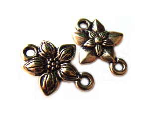 TierraCast Pewter Antique Gold Plated Star Jasmine Link Connector x1
