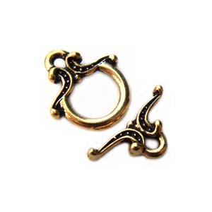 TierraCast Pewter Antique Gold Plated Keepsake Toggle x1