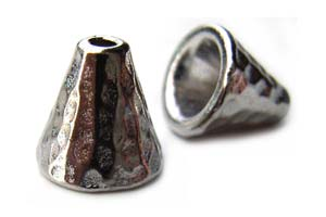 TierraCast Pewter Bright Rhodium Plated 8mm Hammertone Cone x1