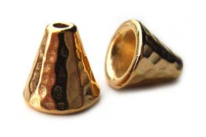 TierraCast Pewter Bright Gold Plated 8mm Hammertone Cone x1
