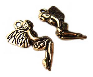 TierraCast Pewter Antique Gold Plated 21mm Leaf Fairy Charm x1