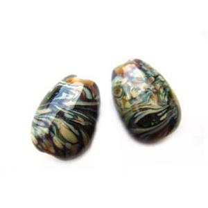 Raku on Topaz Earring Egg Drops - Artisan Glass Lampwork Beads (x2 bead set)