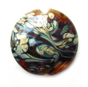 "Raku on Topaz 1"" Focal Bead 25x9mm Flat Lentil Ian Williams Artisan Glass Lampwork Beads - x1"