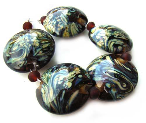 Raku on Topaz Lentils - Ian Williams Artisan Glass Lampwork Beads