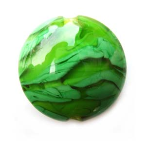 "Green 1"" Focal Bead 25x9mm Flat Lentil Ian Williams Artisan Glass Lampwork Beads - x1"