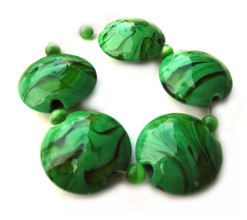Green Lentils - Ian Williams Artisan Glass Lampwork Beads