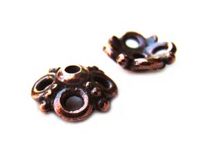 TierraCast Pewter Antique Copper Plated 9mm Clover Bead Cap x1