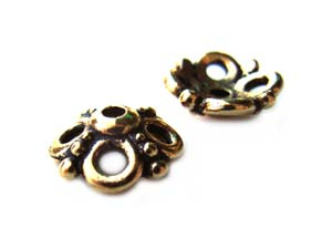 TierraCast Pewter Antique Gold Plated 9mm Clover Bead Cap x1
