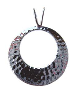Sterling Silver Pendant - 26mm Hammered Round x1
