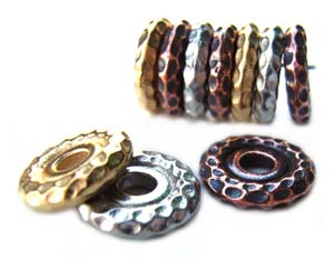 TierraCast Pewter Bright Gold Plated 10mm Hammertone Spacer Bead x1