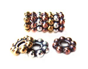 TierraCast Pewter Antique Gold Plated 8mm Beaded Daisy Spacer Bead x1