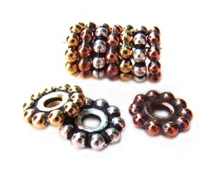 TierraCast Pewter Antique Gold Plated 10mm Beaded Daisy Spacer Bead x1