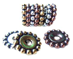 TierraCast Pewter Copper Plated 12mm Beaded Daisy Spacer Bead x1