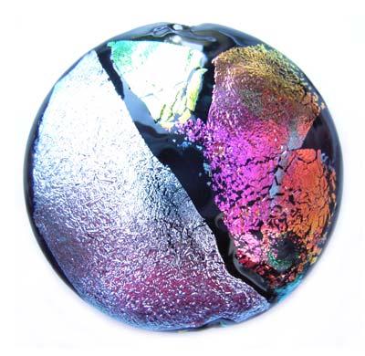 "Dichroic II (1.5"") - Ian Williams Handmade Artisan Glass Lampwork Pendant Bead x1"